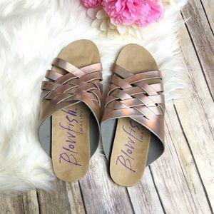 Blowfish Metallic Pink Criss Cross Sandal